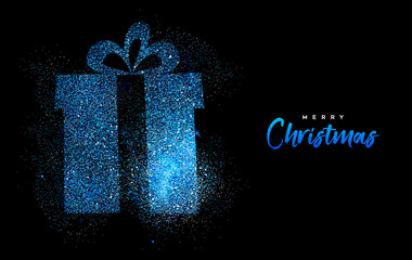 Wall Mural - Merry Christmas blue glitter gift greeting card