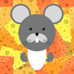 Vector illustration of cartoon mouse with cheese. Funny mouse.