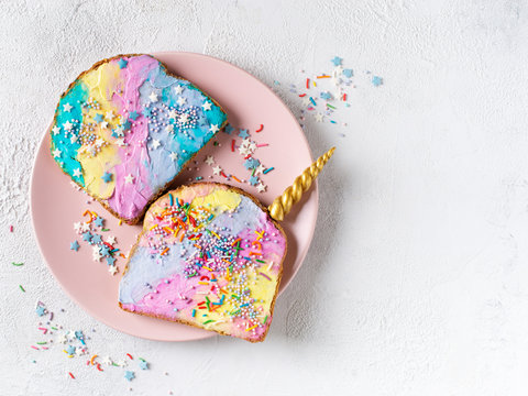 Colorful mermaid and unicorn toast with decoration