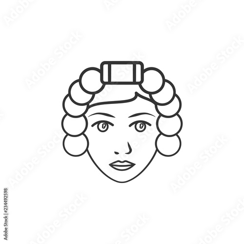 Woman with curlers icon  Element of woman makeup icon for mobile