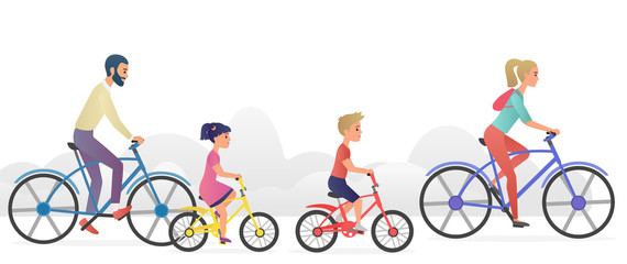 Parents with kids riding bicycles vector illustration.