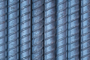 Closeup detail of steel rods surface background and texture