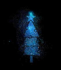Christmas pine tree shape in blue glitter