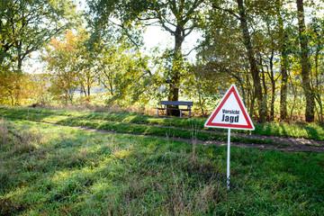 Vorsicht Jagt - Warnschild