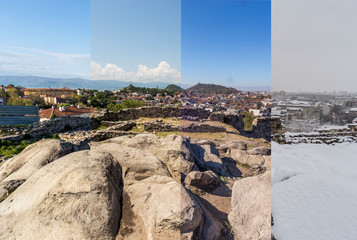 Four seasons concept. The effect of the 4 seasons on the urban environment. Four pictures of one place captured during one year and seamlessly blended in one photography composite.