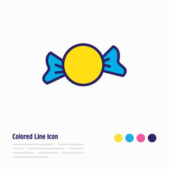 Vector illustration of candy icon colored line. Beautiful event element also can be used as bonbon icon element.