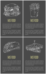 Fast Food Sketches Poster Vector Illustration