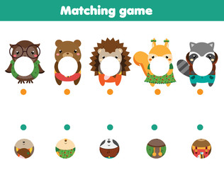 Matching educational game. match parts of animals. Activity page for kids, children, toddlers.