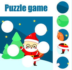 Puzzle for toddlers. Educational game. Complete the picture with Santa Claus in forest. Christmas and New Year holidays theme