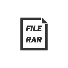 RAR File. Black Icon Flat on white background