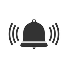 Bell Ring Voice. Black Icon Flat on white background