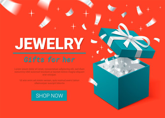 Gift Box and silver Confetti. Turquoise jewelry box on dark background. Template for cosmetics and jewelry shops. Christmas Background. Vector Illustration