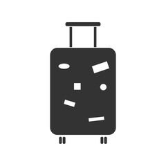 Travel Luggage. Black Icon Flat on white background