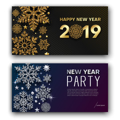 Happy New Year 2019 greeting card and party invitation card with snowflakes.