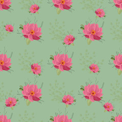 Vector floral ethnic seamless pattern in watercolor style with flowers peonies,  and leaves. Gentle, spring, summer background.