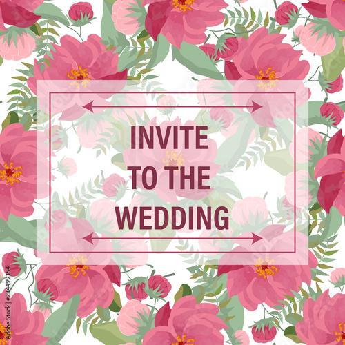 Save The Date Floral Wedding Felicitation Elegant Invite Set