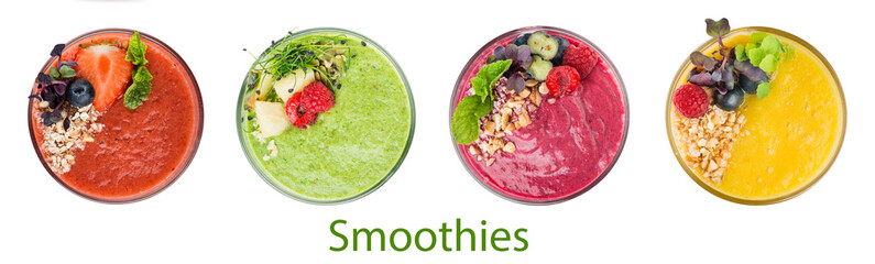 Poster Milkshake set of smoothies isolated on white top view