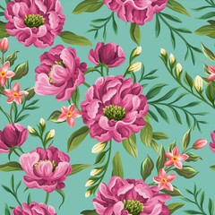 Seamless pattern with bright peonies