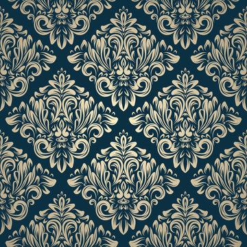 Damask vintage seamless pattern on navy background