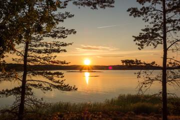 Sonnenuntergang in den Stockholmer Schären