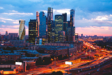 Moscow city in night illumination