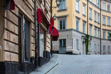 cobblestone pavement in old town, Stockholm