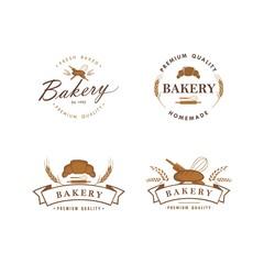 Bakery and Dessert Logo, Sign, Template, Emblem, Flat Vector Design Set
