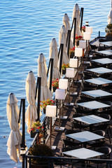 Top view on restaurant in solar lighting