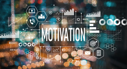 Motivation with blurred city abstract lights background