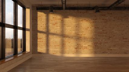 Interior empty room sunset 3D rendering