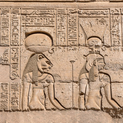 hieroglyphs at the Ancient temple in Kom Ombo