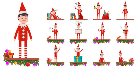 Funny Christmas cartoon elf. Cute Santa helper in different poses and emotions. Vector flat character set isolated on white background.