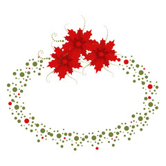 Christmas oval border with poinsettia. Holiday decoration element isolated on a white background.