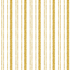 Golden glittering striped pattern over white background, vector illustration