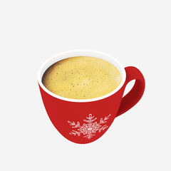 3d render christmas decor, coffee cup