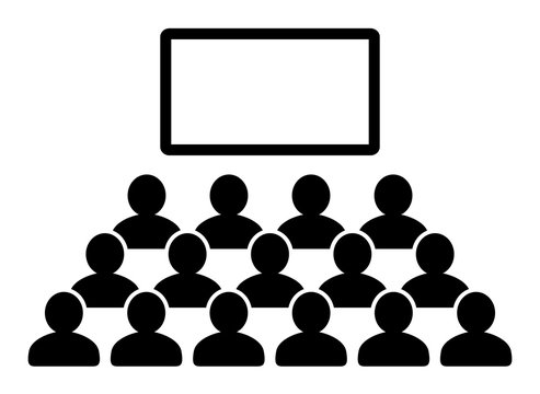 Auditorium with crowd of people and blank blackboard / black vector icon