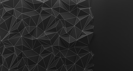 Black low poly background texture. 3d rendering.