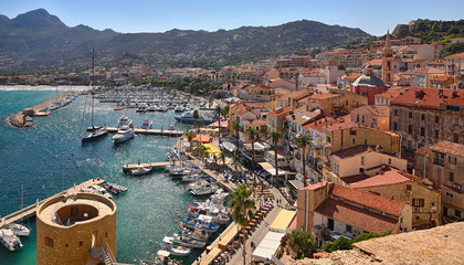 Foto op Plexiglas Zalm Port of Calvi (Corsica) - overview from the citadel
