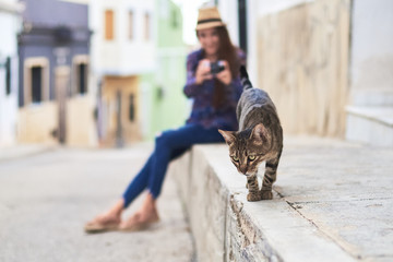 Young woman taking photo of cat