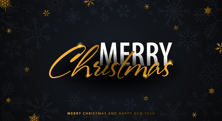 Merry Christmas and Happy New Year. Dark background with gold snowflakes. Vector illustration.
