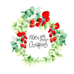 Christmas wreath from holly berries with leaves, pine branches and greeting lettering calligraphy. Watercolor painting. Art background. Hand drawn  illustration. Painted  backdrop. Festive card.