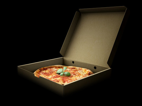 Pizza in a cardboard box against a dark background. Pizza delivery or Pizza menu content.
