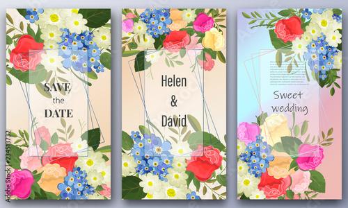 Save the date, floral wedding felicitation elegant invite, set.