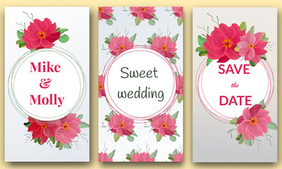 Save the date, Floral Wedding felicitation elegant invite, set, thank you,  greenery,  bouquet,  peonies, template , gift certificate, party invitation, congratulation ,flower frame.