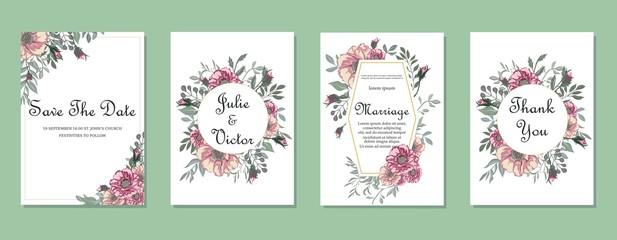 Floral wedding invitation set, pattern, floral card, modern card exquisite design with elegant color background and flowers elegant decorative pattern.