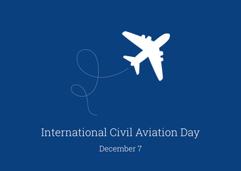 International Civil Aviation Day vector. White silhouette of a plane on a blue background. Silhouette aircraft vector illustration. Important day