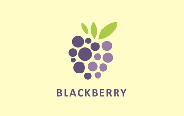 Powerful stylized graphic symbol of berries. Digital icon image of blackberry. Useful logo vector for many kind fruits.