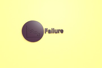 3D illustration of Failure, violet color and violet text with yellow background.