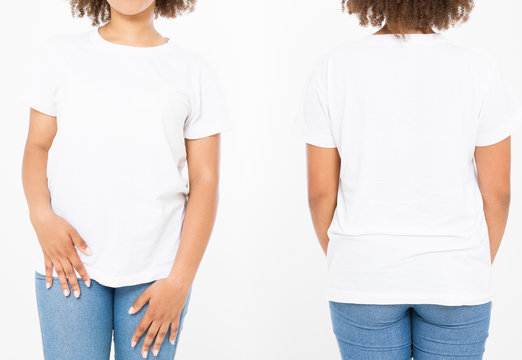 Shirts set. Summer t shirt design and close up of young afro american woman in blank template white t-shirt. Mock up. Copy space. Curly hair. front and back view. Cropped image