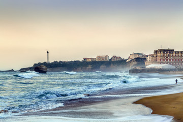 Waves on the beach in Biarritz, France